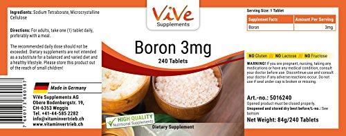 Bor 3mg - Boron - 240 Tabletten - Reinsubstanz - Großpackung - Spurenelement für eine normale Knochendichte und gesunde Gelenke sowie ein gutes Gedächtnis -