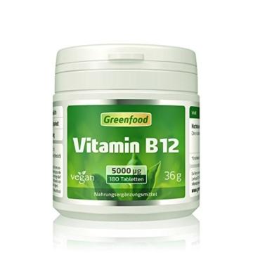 Vitamin B12 (Methylcobalamin), 5000 µg, extra hochdosiert, 180 Tabletten, vegan – wichtig für Nervensystem und Denkvermögen, stimmungsaufhellend. OHNE künstliche Zusätze. Ohne Gentechnik. -