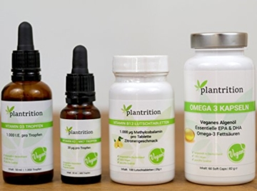 Vitamin K2 Mk7 Tropfen Vegan (100 µg pro Portion) plantrition 600 Tropfen Vitamin K2 Öl Natürliches Menaquinon MK-7 - >99% All-Trans 1 Flasche (20ml) -