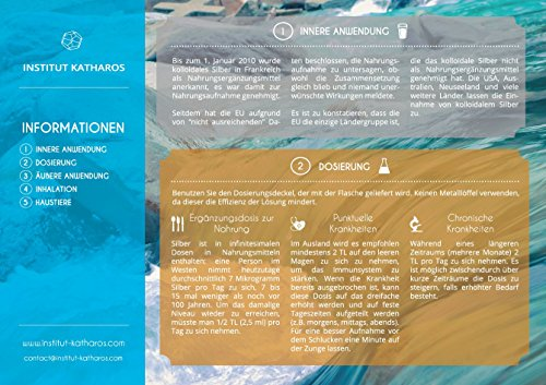 Kolloidales Silber 1000 ml - hoch konzentriert (40 PPM) - Institut Katharos -