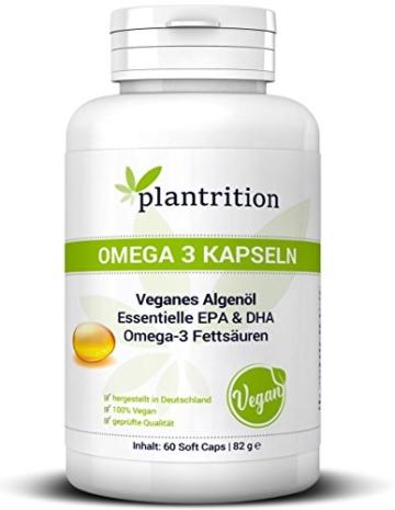 Premium Omega 3 Kapseln VEGAN hochdosiert mit Vitamin E - pflanzliche Alternative zu Fischöl Plantrition OMEGA 3 Algen-Öl mit hochdosiertem EPA & DHA - 60 Soft Caps -
