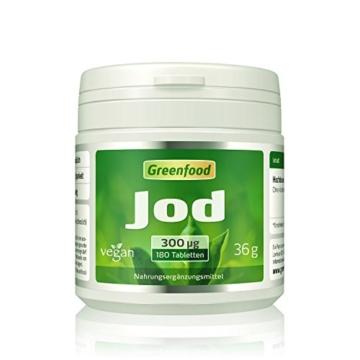 Jod, 300 µg, hochdosiert, 180 Tabletten, vegan – optimale Jodversorgung. Wichtig für die Schilddrüse, den Hormonhaushalt und das Nervensystem. OHNE künstliche Zusätze. Ohne Gentechnik. -